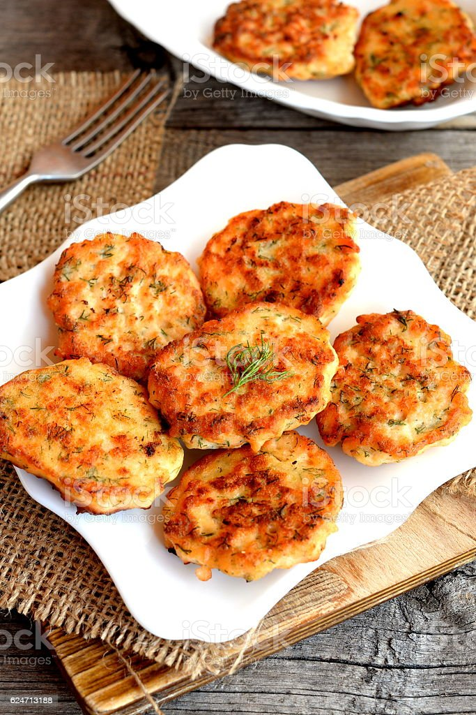 Cutlets prepared from red fish mince stock photo
