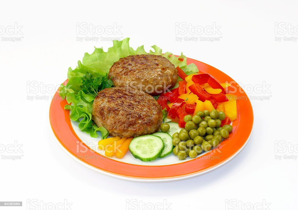 Cutlets & vegetables royalty-free stock photo