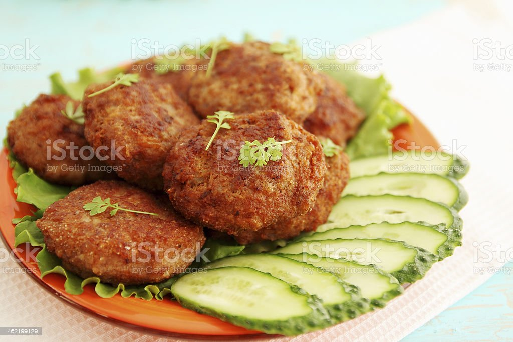 cutlets with cucumber stock photo