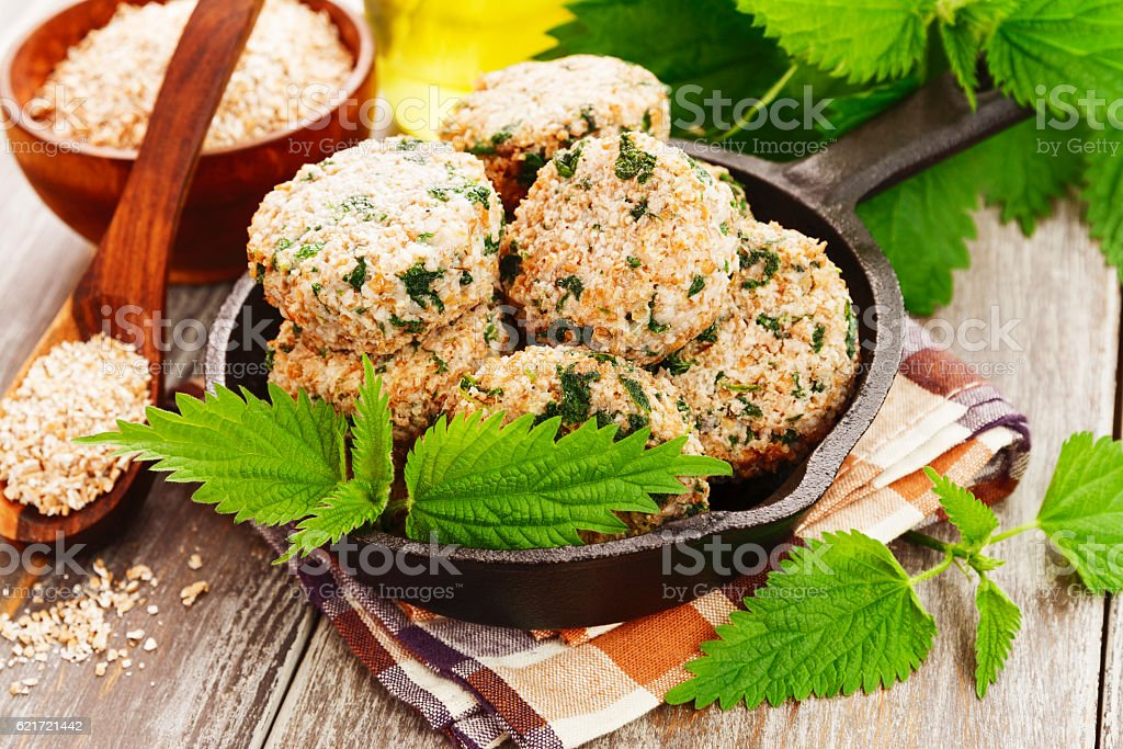 Cutlets with nettles stock photo