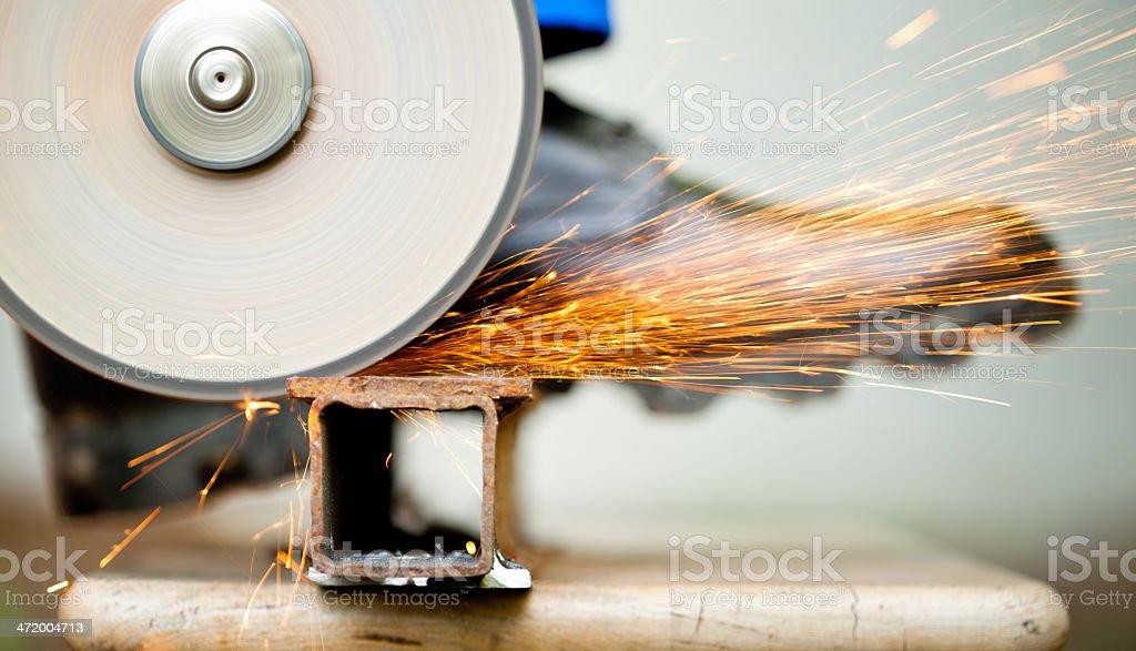 cutoff wheel in action stock photo