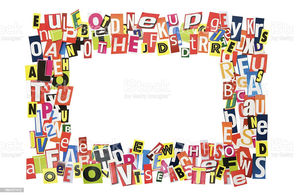 Cutout Letters Picture Frame (Clipping Path Included) royalty-free stock photo