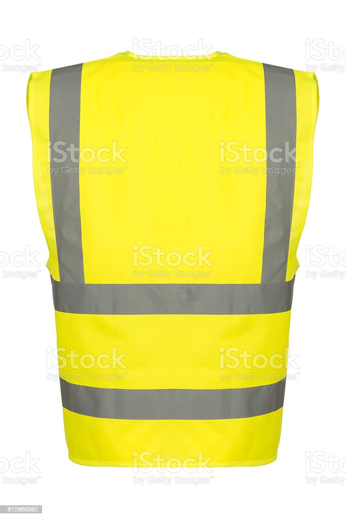 Cutout of Rear of Yellow Safety Vest stock photo