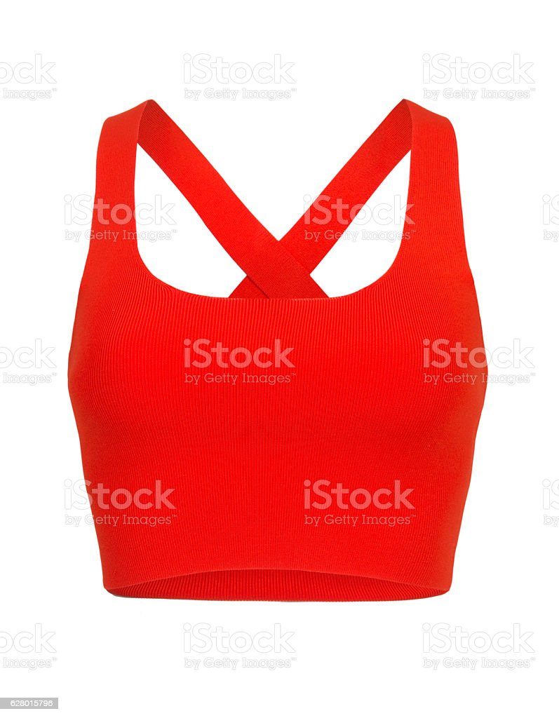 Cut-out of Red Razorback Midriff On Invisible Mannequin stock photo