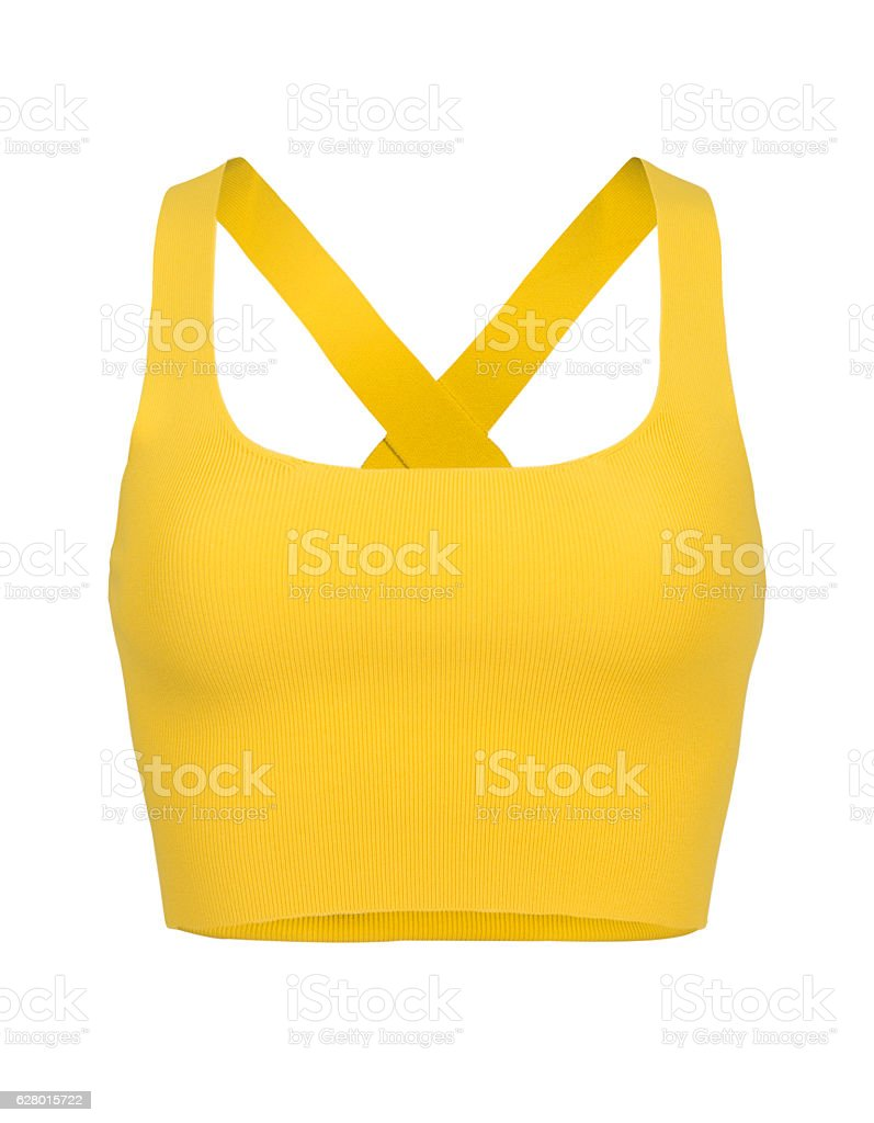 Cut-out of Yellow Razorback Midriff Top On Invisible Mannequin stock photo