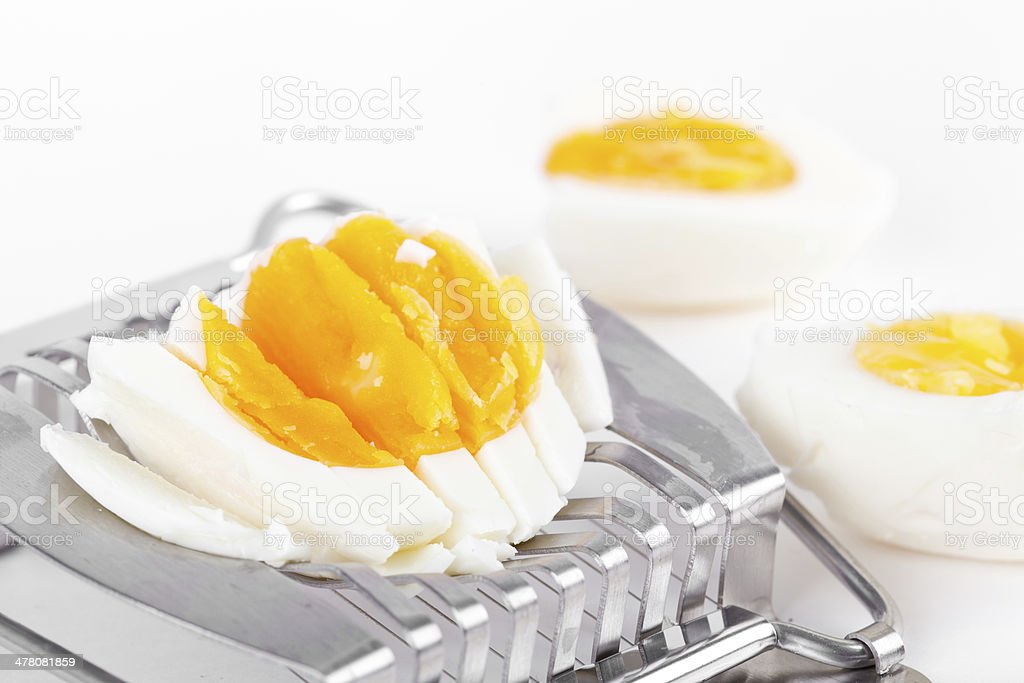 Cutted egg on cutter royalty-free stock photo