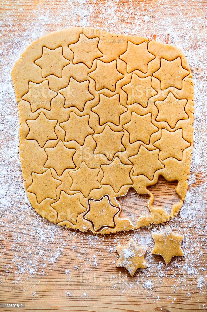 Cutted out star shape cookie stock photo