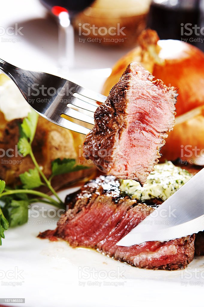Cutted piece of steak royalty-free stock photo