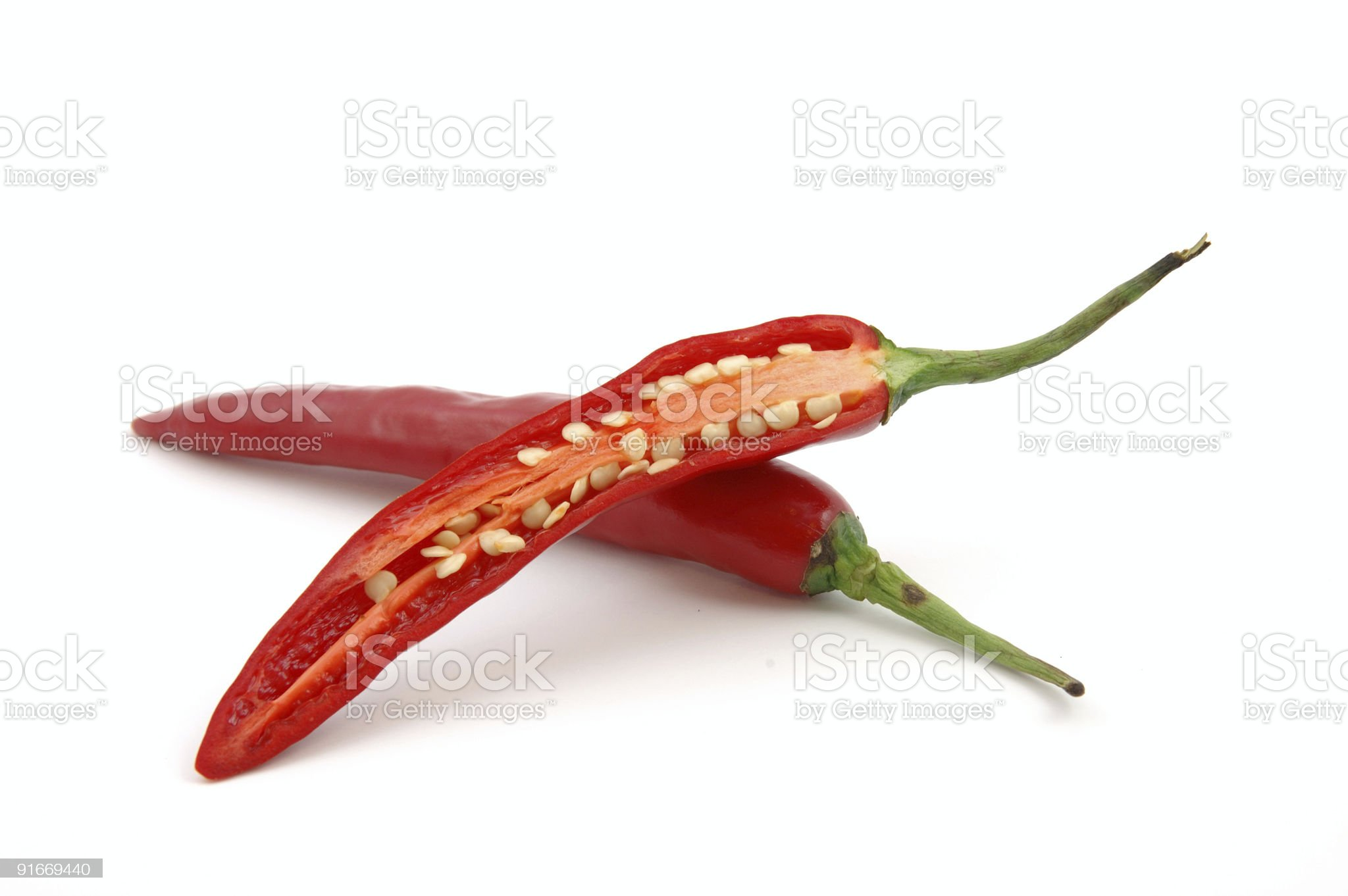 Cutted Red hot chili peppers royalty-free stock photo