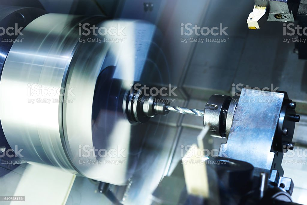 Cutters for metal and drill set the CNC machine tool stock photo