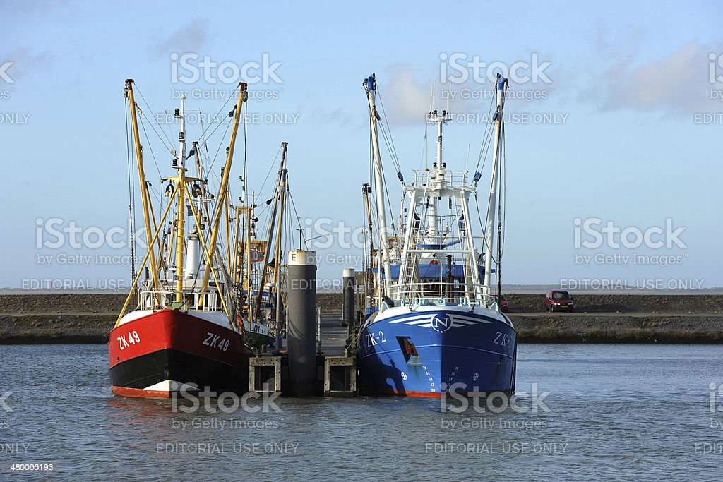 Cutters in the harbour of Lauwersoog stock photo