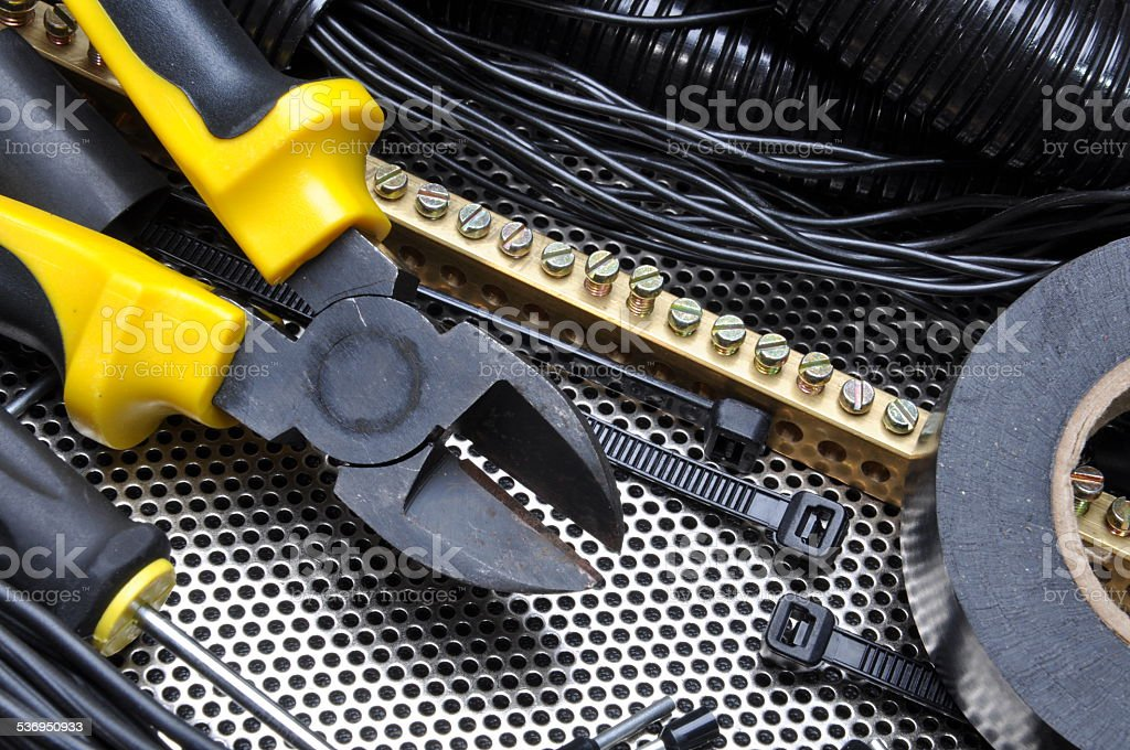 Cutters with electrical component kit stock photo