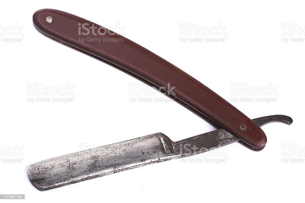 cut-throat razor isolated on white stock photo
