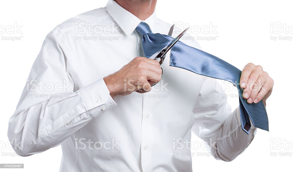 Cutting a Blue Tie stock photo