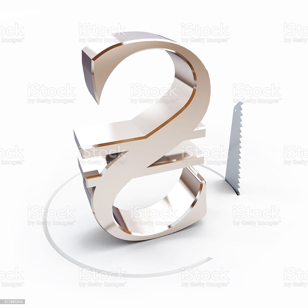 cutting a circle with a hand saw hryvnia sign stock photo