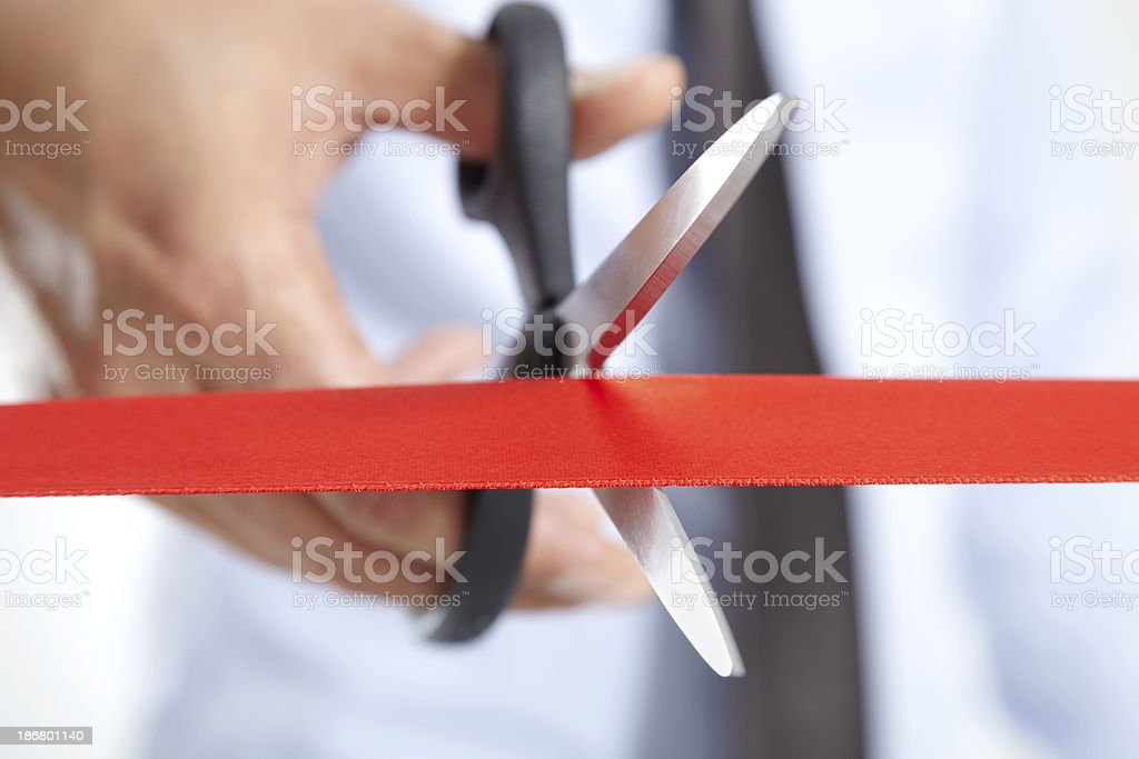 Cutting A Red Ribbon stock photo