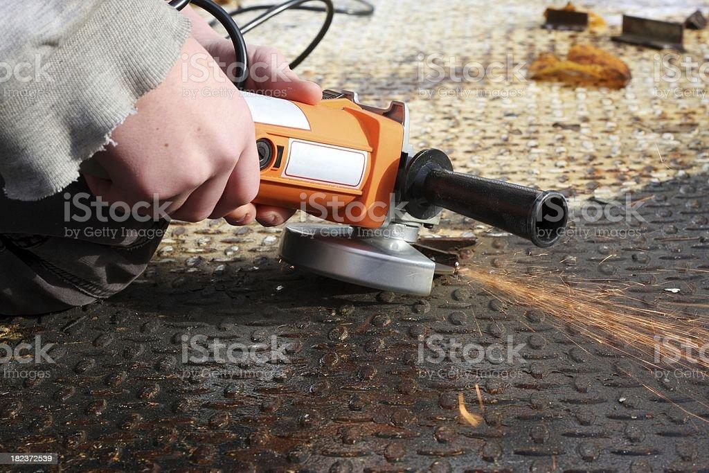 Cutting a Weld stock photo