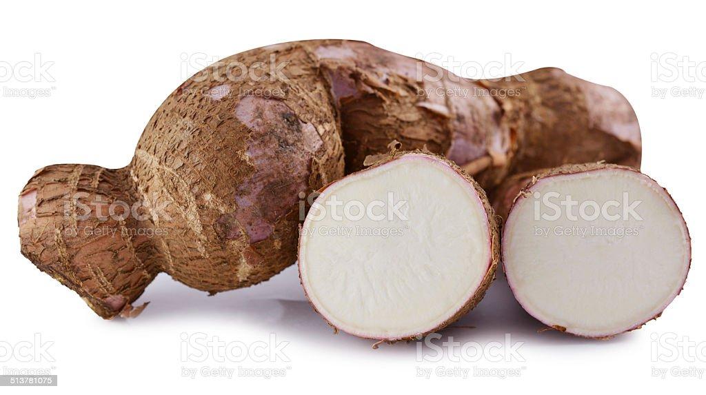 cutting and whole manioc (cassava) isolated on white background stock photo