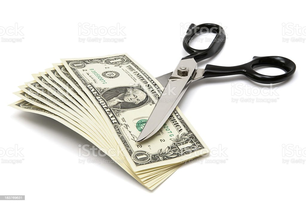 Cutting Banknotes stock photo
