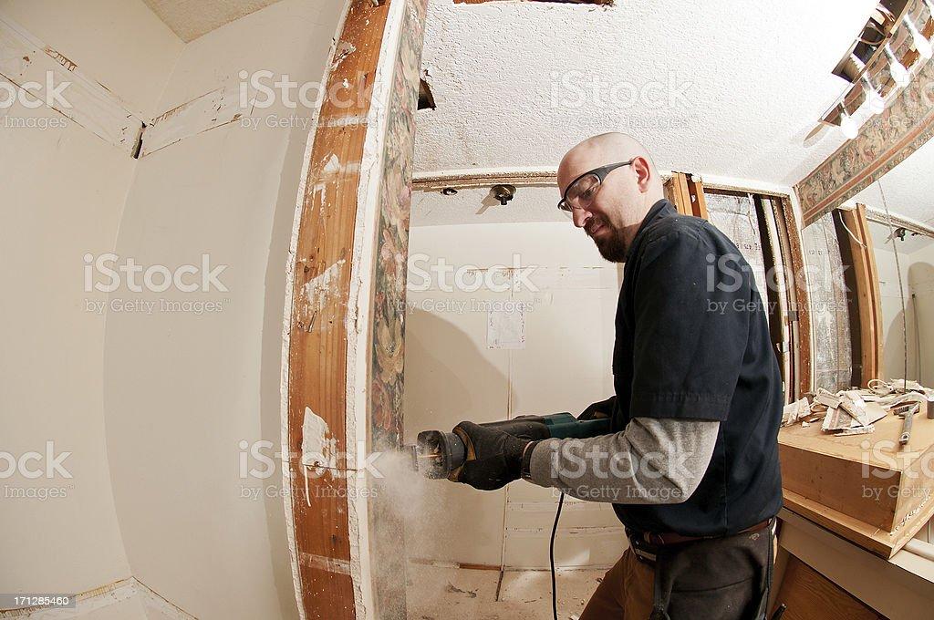 Cutting bathroom sheetrock royalty-free stock photo