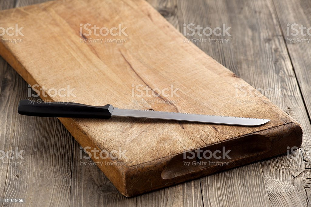 Cutting board and knife royalty-free stock photo