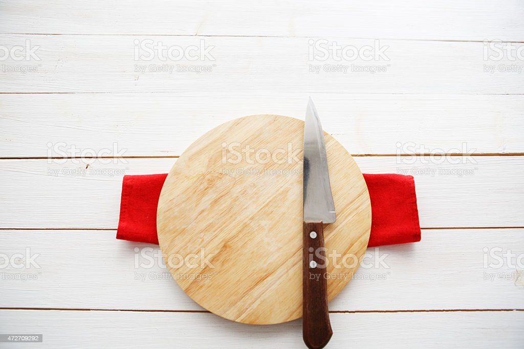 cutting board and knife stock photo