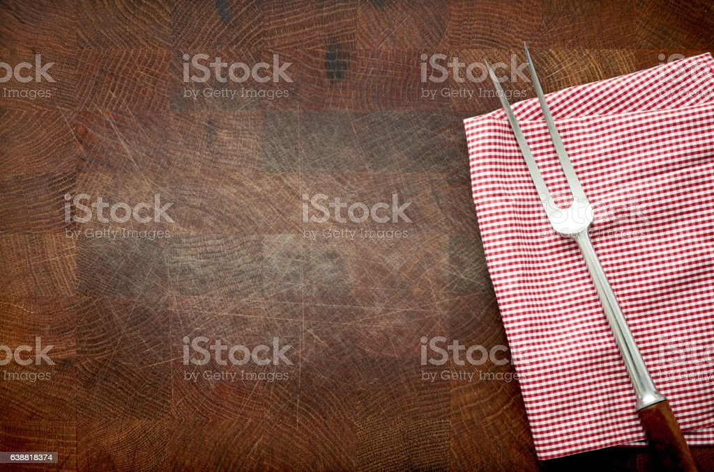 Cutting board, fork, cloth stock photo