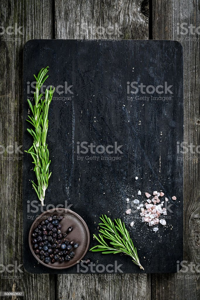 Cutting board with cooking ingredients stock photo