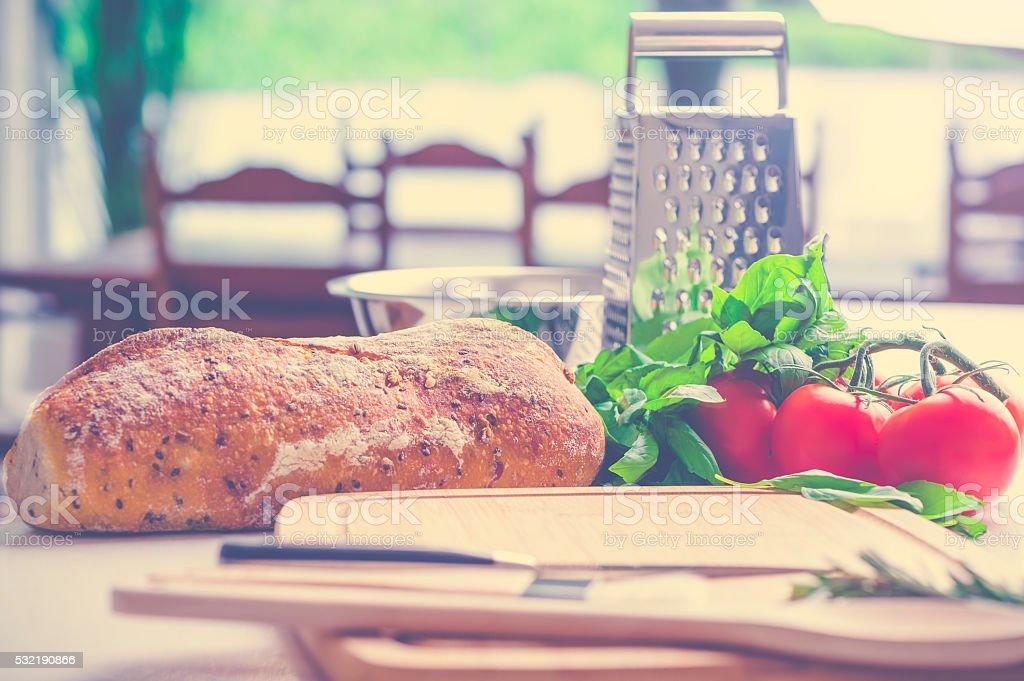 Cutting board with fresh food. stock photo