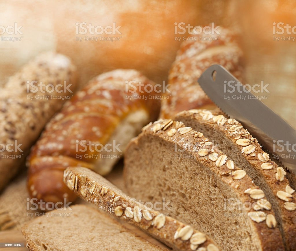 Cutting bread royalty-free stock photo
