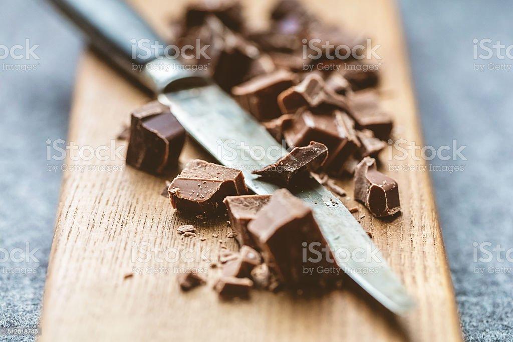 Cutting Chocolate Chunks stock photo