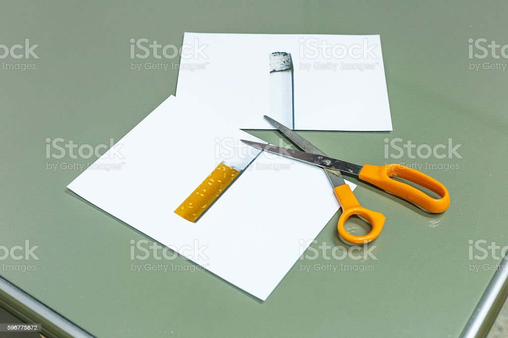 Cutting cigarette for good life stock photo