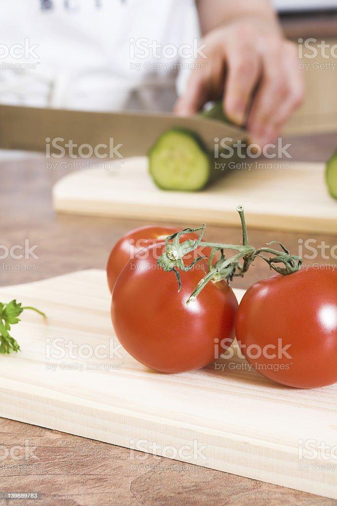 cutting cucumber royalty-free stock photo