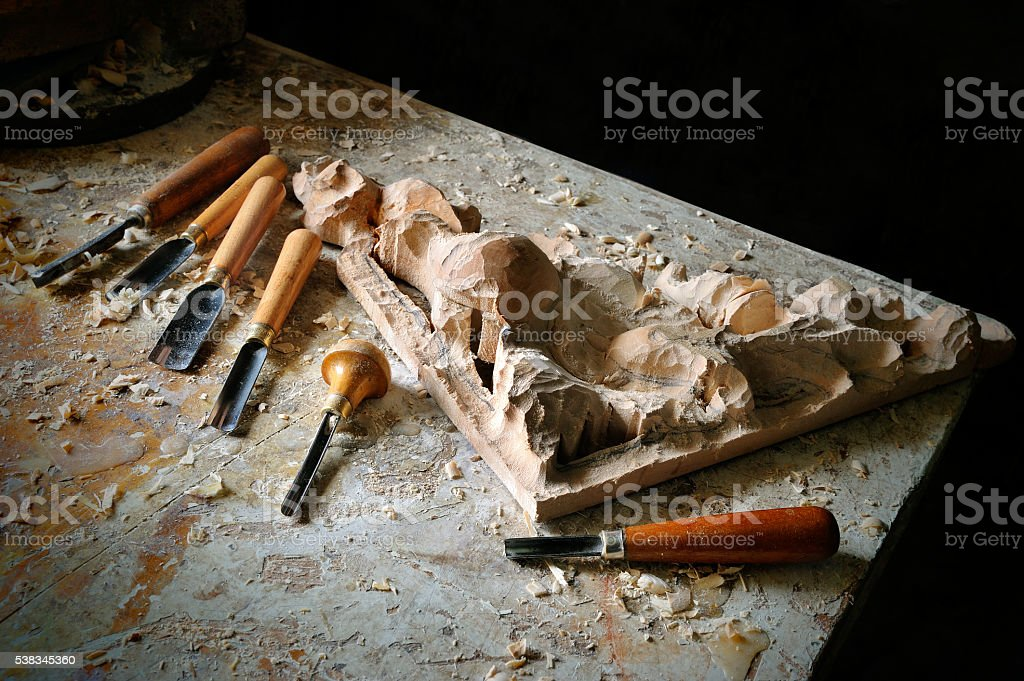cutting equipment in carver workshop stock photo