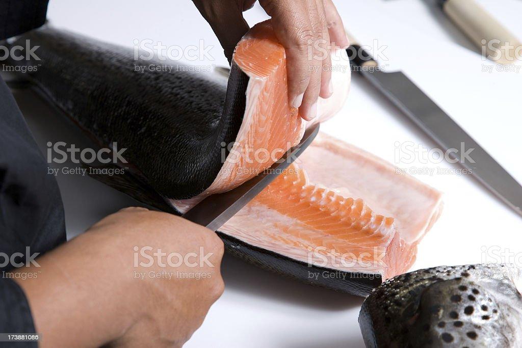 Cutting Fish stock photo