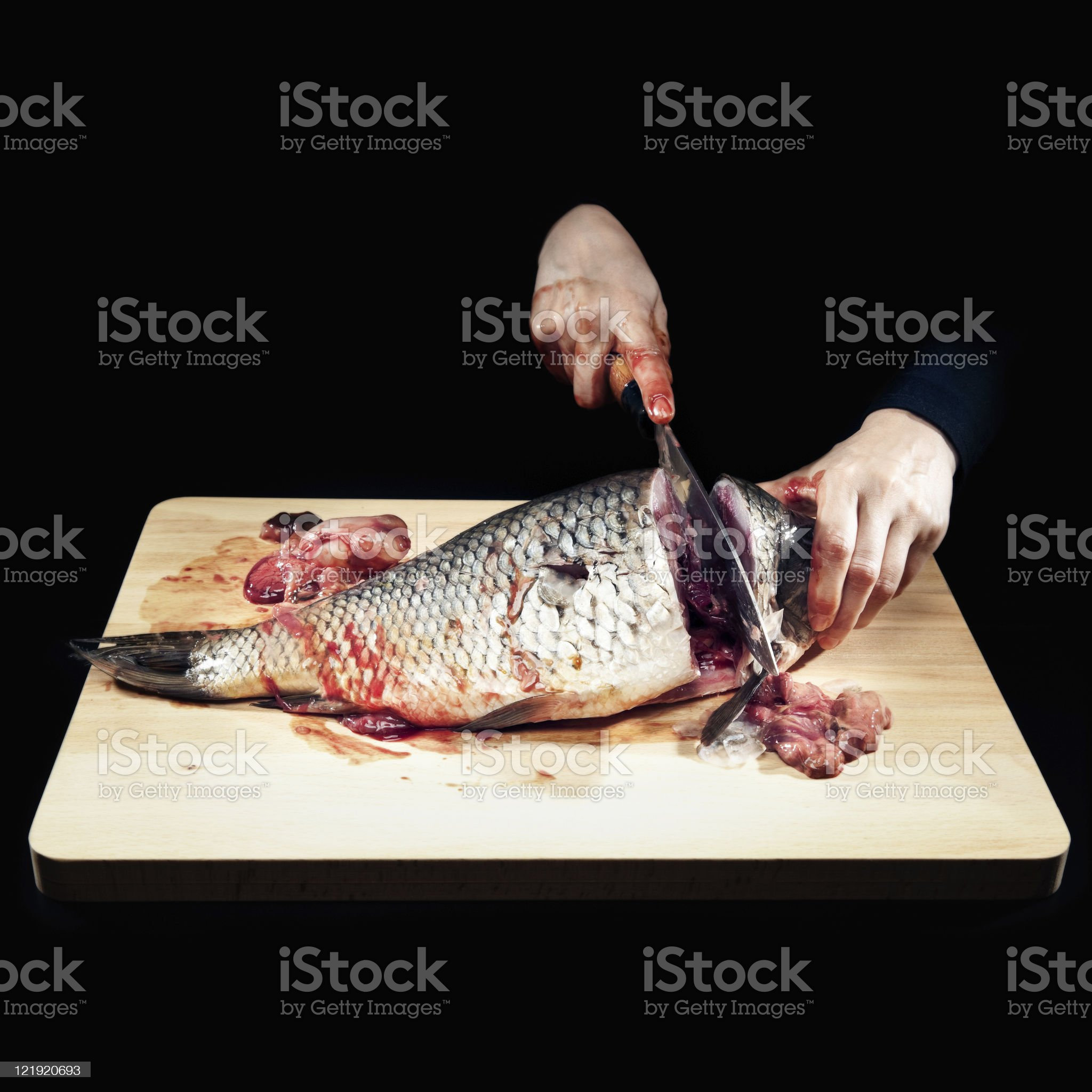 Cutting fish - the head royalty-free stock photo