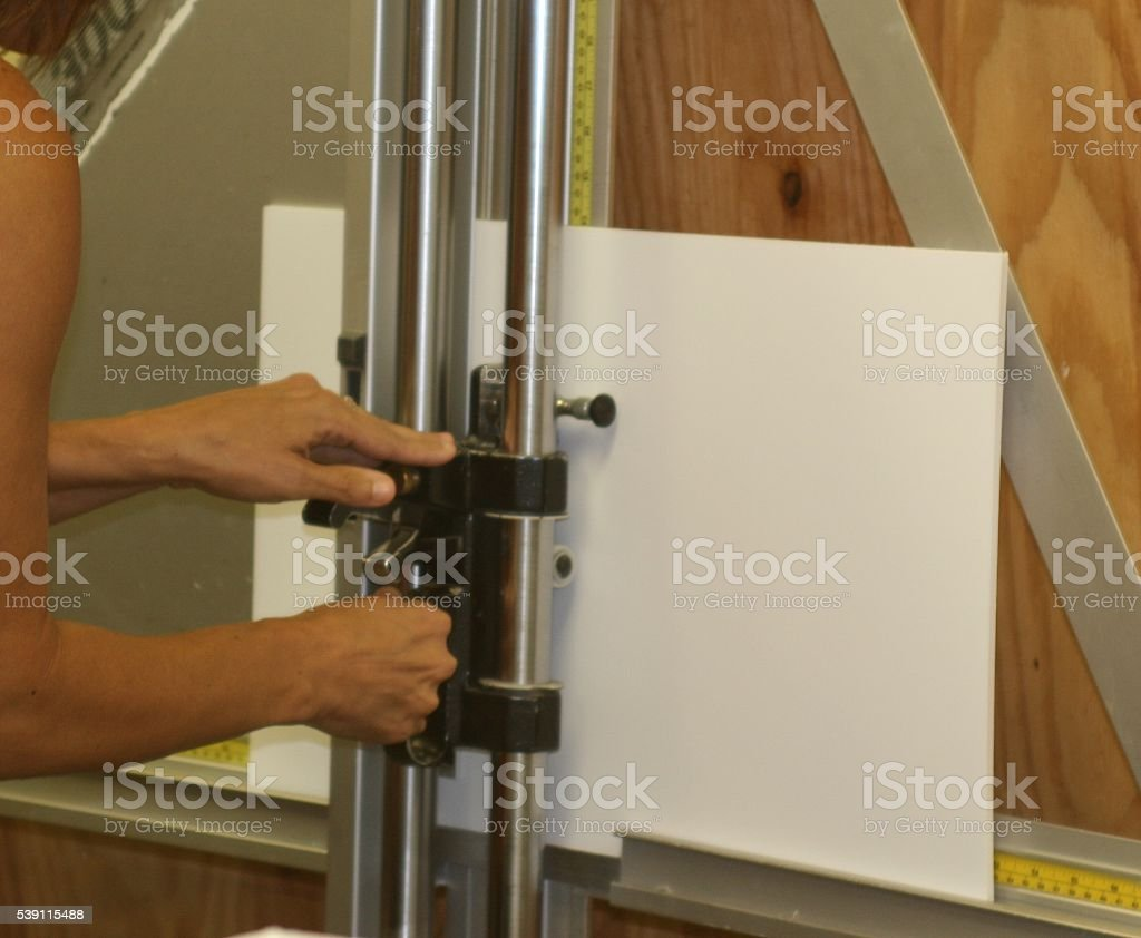 Cutting foam board stock photo