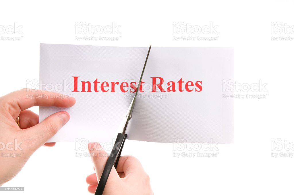Cutting interest rates royalty-free stock photo