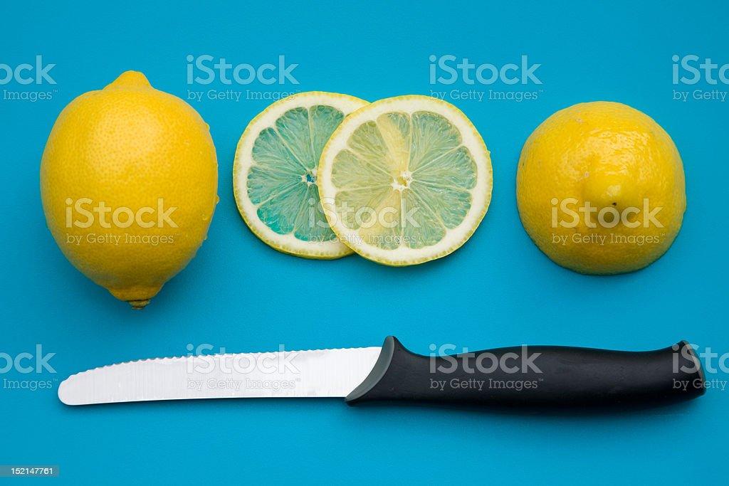 cutting lemon stock photo
