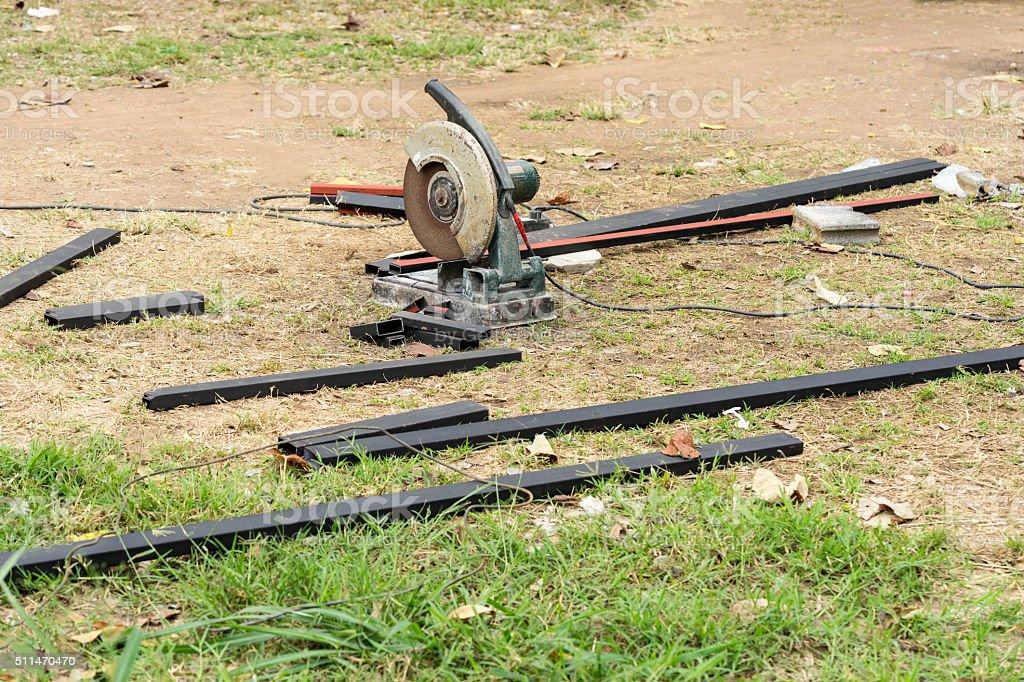 cutting machine on ground stock photo