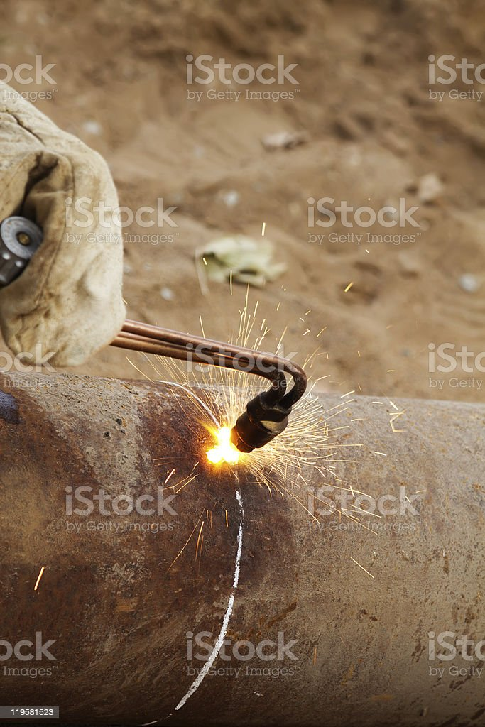 Cutting  metal  gas   torch stock photo