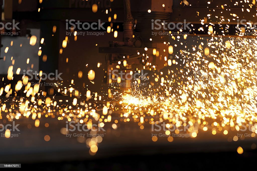 Cutting metal with plasma laser stock photo