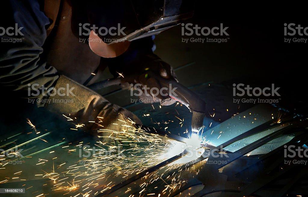 Cutting metal with plasma royalty-free stock photo