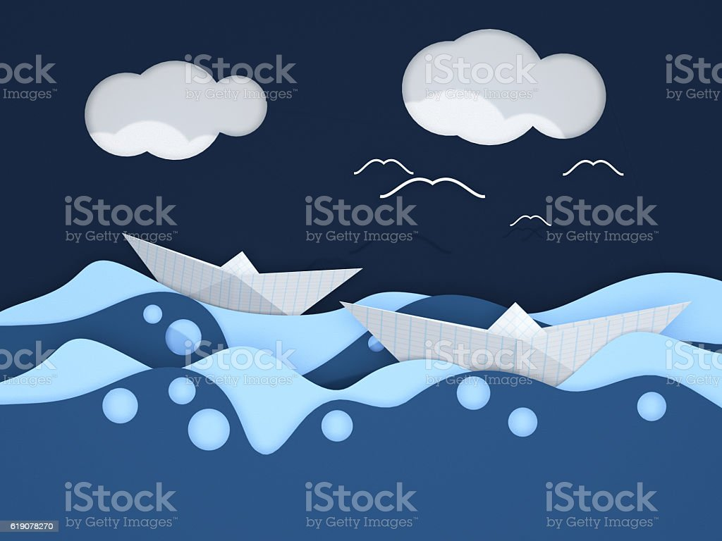 Cutting of paper sea royalty-free stock photo