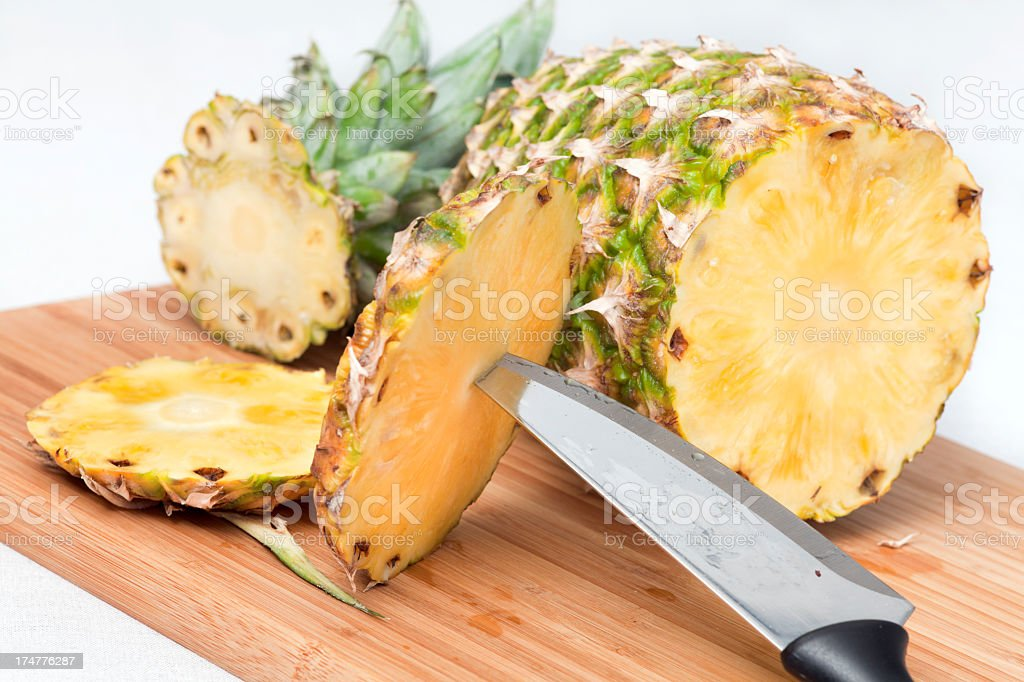 Cutting of pineapple royalty-free stock photo