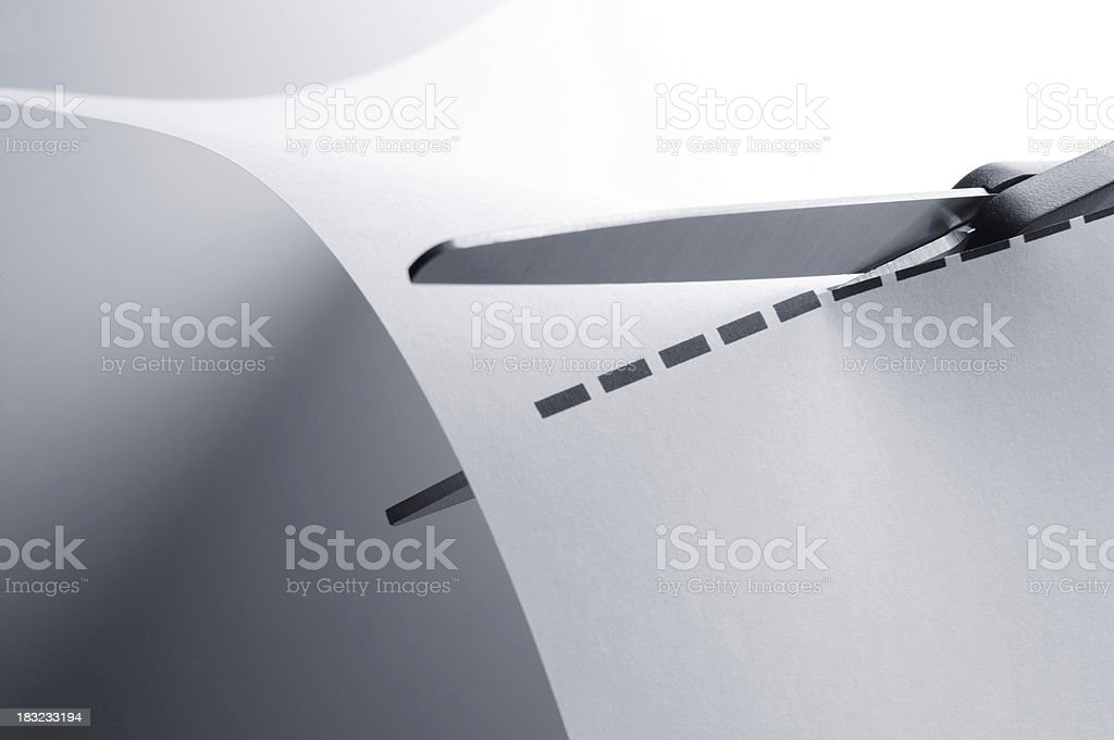 Cutting on Dotted Line stock photo