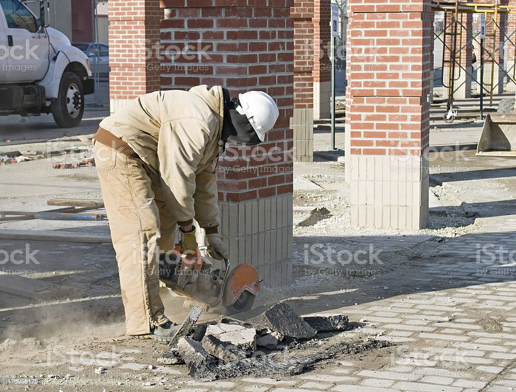 Cutting Out Asphalt stock photo