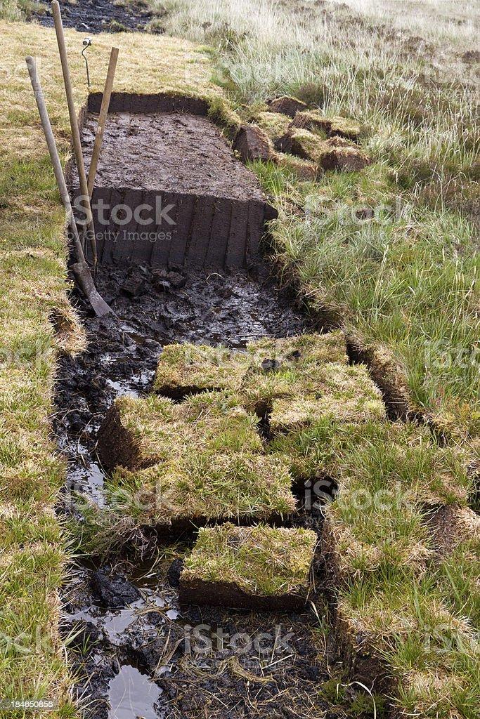 cutting peat stock photo