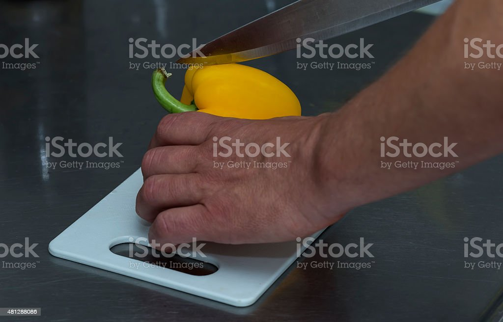 Cutting peppers royalty-free stock photo
