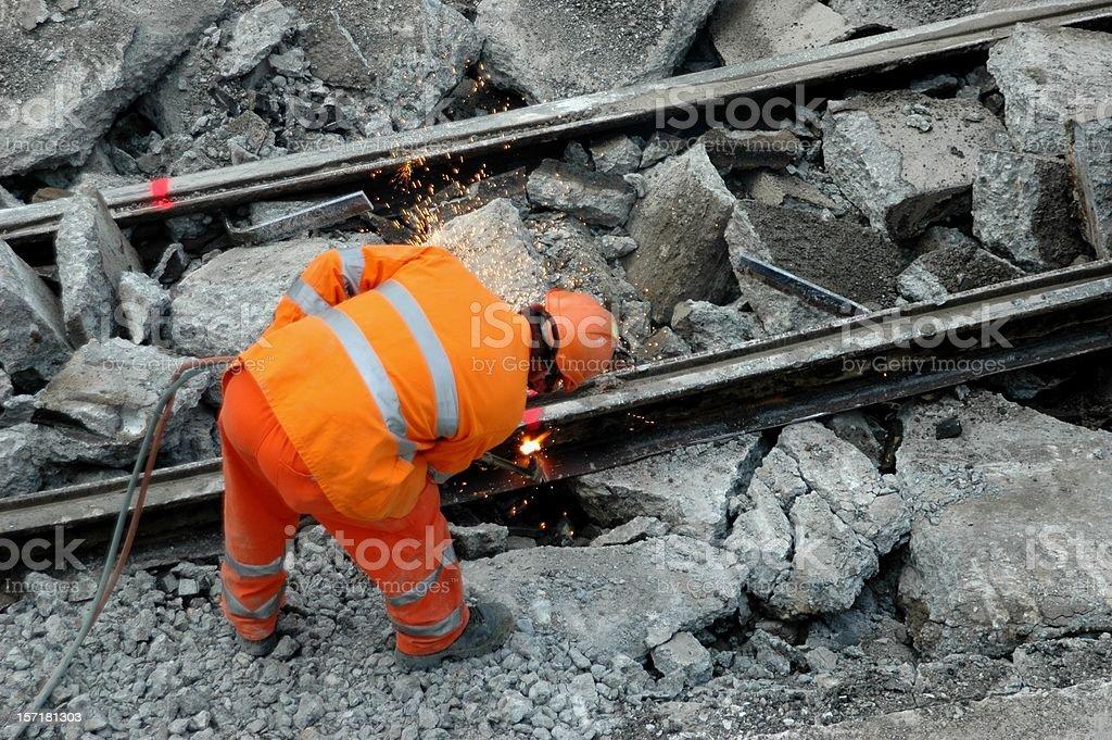 Cutting Rail - Demolition royalty-free stock photo